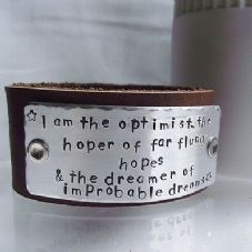 "Lovely Handmade Personalised Dr Who ""I am the optimist"" Leather Cuff Bangle"